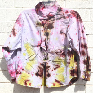 Pink Brown Tie Dyed Cotton Long Sleeved Shirt Top